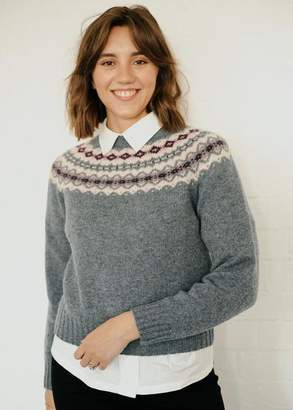 Lowie Scottish Lambswool Moss Fairisle Knitted Jumper - S
