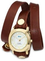 "La Mer Women's LMODY005 ""Odyssey"" Gold-Tone Watch with Brown Leather Wrap-Around Band"