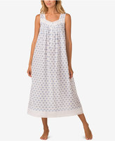 Eileen West Eyelet-Trimmed Printed Cotton Ballet-Length Nightgown