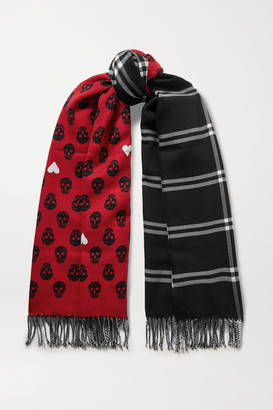 Alexander McQueen Reversible Fringed Wool-jacquard Scarf - Red