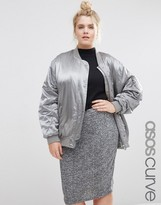 Asos Luxe Bomber Jacket In Satin