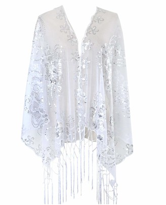 L'VOW Women's Glittering 1920s Scarf Mesh Sequin Wedding Cape Fringed Evening Shawl Wrap (Silver)