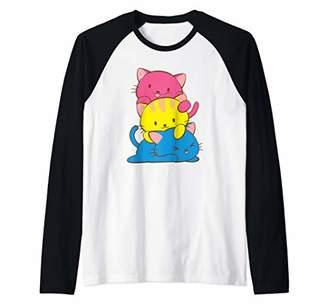 Pansexual Kawaii Cat Anime Art Cute Pan Pride Raglan Baseball Tee