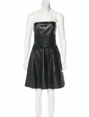 Valentino Leather Belted Dress Black