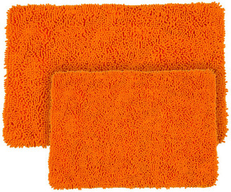 Lavish Home 2 Piece Shag Memory Foam Bath Mat Set, Orange