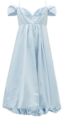 Simone Rocha Ruffled Taffeta Midi Dress - Womens - Blue