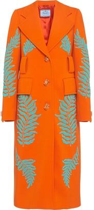 Prada Fern motif beaded long coat