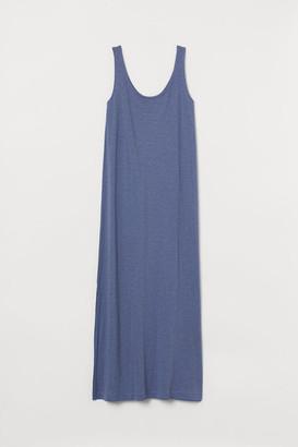 H&M Cotton-blend Jersey Dress - Blue