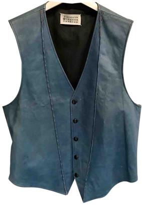 Maison Margiela Blue Leather Knitwear & Sweatshirts