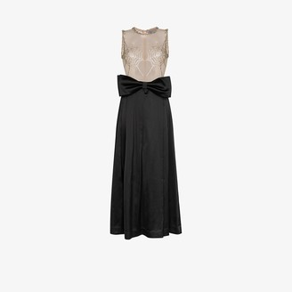 Ashley Williams Spider Web Embellished Two Tone Gown