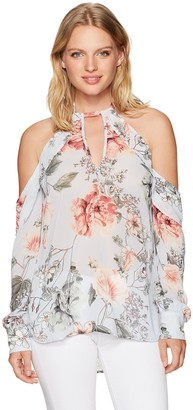 Bardot Women's Floral Tie Neck Top Small