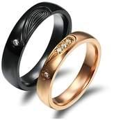 Epinki 2PCS 5MM/4MM Stainless Steel Puzzle Heart CZ Couple Wedding Engagement Rings Women Size 6 & Men Size 9