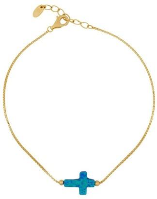 Mocha Sterling Silver Mini Cross Gold Fine Bracelet - Blue