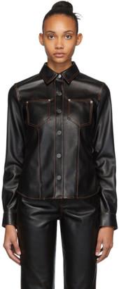 Proenza Schouler Black Faux-Leather Button-Down Shirt