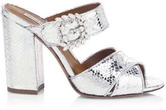 Tabitha Simmons Reyner Buckled Metallic Snake-Embossed Leather Block-Heel Slide Sandals