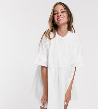 ASOS DESIGN Petite super oversized frill sleeve smock dress in white