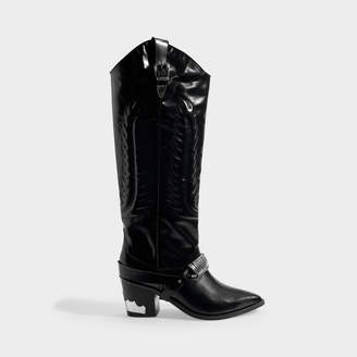 Toga Pulla Western Boots In Black Leather