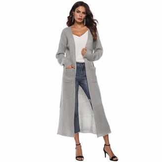 Cicilin Women's Fashion Chunky Cable Knit Long Cardigan with Side Pockets Drape Outwear Waterfall Cardigan Grey Size UK XL(Asian XXL)