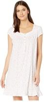 Eileen West Cotton Jersey Knit Short Sleeve Short Nightgown (White Ground/Multi Floral) Women's Pajama