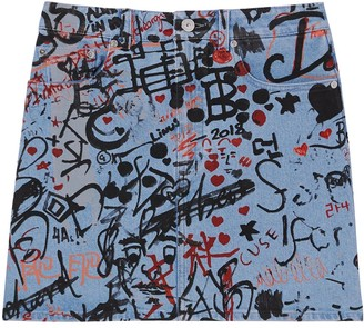 Burberry Graffiti Print Denim Mini Skirt