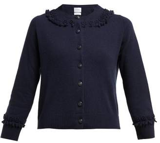 Barrie Bobble And Lace-stitched Cashmere Cardigan - Womens - Navy
