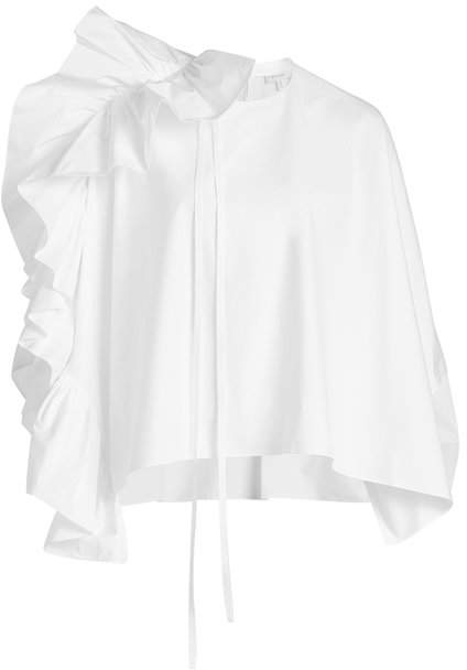 DELPOZO Ruffled Oversize Cotton Shirt