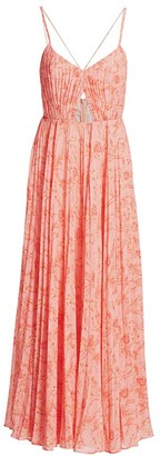 AMUR Lucy Pleated Cutout Strappy Maxi Dress