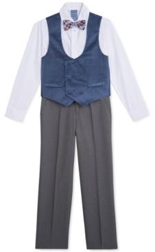 Nautica Little Boys 4-Pc. Polka Dot Double-Breasted Velvet Vest Set
