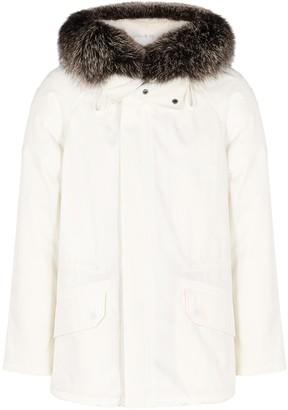 Yves Salomon Army White Fur-trimmed Cotton-blend Parka