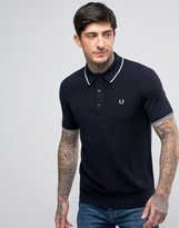 Fred Perry Slim Knitted Polo Tipped in Navy