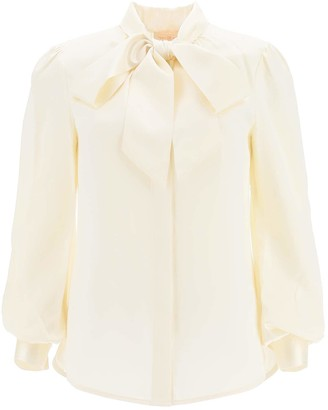 Tory Burch SATIN BLOUSE WITH BOW 4 Beige Silk
