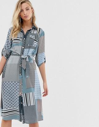 Liquorish shirt dress with tie waist in mixed print-Multi