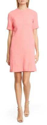 Lela Rose Seamed Stretch Wool Blend Shift Dress