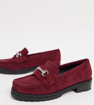 ASOS DESIGN Wide Fit Motivate suede chunky loafers in burgundy