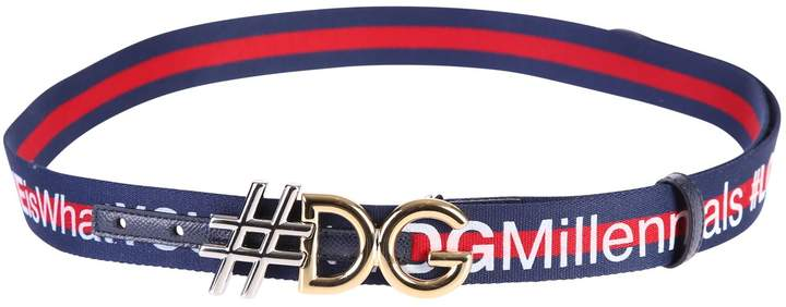 Dolce & Gabbana Blue And Red Logo Belt