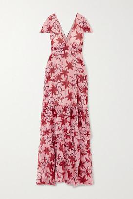 Eywasouls Malibu Kimi Tiered Ruffled Floral-print Chiffon Dress - Pink