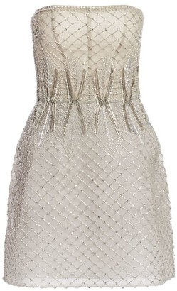 Monique Lhuillier Embroidered Tulle Strapless Mini Dress