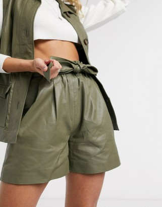Object leather shorts with paperbag waist in khaki
