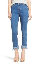 Moon River Frayed Hem High Rise Crop Jeans