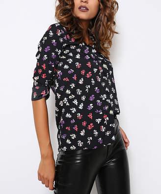 Misell Women's Blouses BLACK - Black & Pink Floral Button-Up - Women