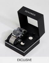 Sekonda Silver Mesh Watch & Cufflinks Gift Set