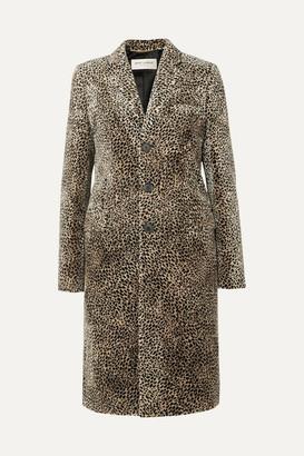 Saint Laurent Leopard-print Jacquard Coat - Beige