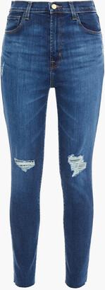 J Brand Leena Distressed High-rise Skinny Jeans