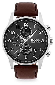 HUGO BOSS Men's Navigator Stainless Steel & Chronograph Brown Leather Strap Watch