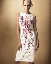 Carolina Herrera Cherry Blossom Jacquard Dress, White/Pink