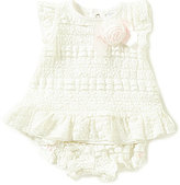 Edgehill Collection Baby Girls Newborn-6 Months Textured Lace Top & Diaper Cover Set