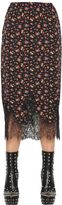 McQ by Alexander McQueen Floral Print Silk Crepe Skirt With Lace
