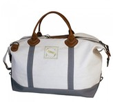 The Well Appointed House Weekender Bag in White with Gray Accents-Can Be Personalized