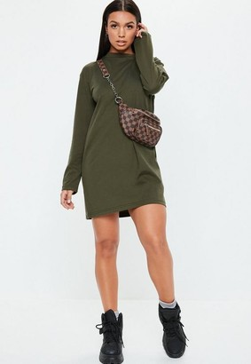 Missguided Khaki Basic Long Sleeve T Shirt Dress