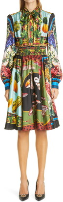 Dolce & Gabbana Fruit Print Silk Long Sleeve Minidress